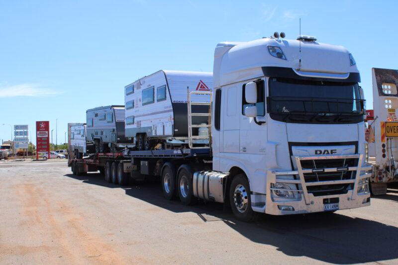 Waiting to unload 3 new Newage Caravans in Port Headland